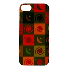 Space Month Saturnus Planet Star Hole Black White Multicolour Orange Apple Iphone 5s/ Se Hardshell Case by AnjaniArt