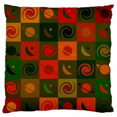 Space Month Saturnus Planet Star Hole Black White Multicolour Orange Standard Flano Cushion Case (one Side) by AnjaniArt