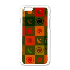 Space Month Saturnus Planet Star Hole Black White Multicolour Orange Apple Iphone 6/6s White Enamel Case by AnjaniArt