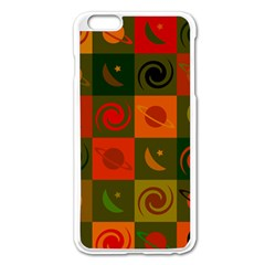 Space Month Saturnus Planet Star Hole Black White Multicolour Orange Apple Iphone 6 Plus/6s Plus Enamel White Case by AnjaniArt