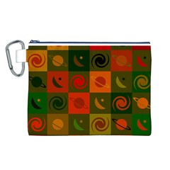 Space Month Saturnus Planet Star Hole Black White Multicolour Orange Canvas Cosmetic Bag (l) by AnjaniArt