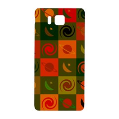 Space Month Saturnus Planet Star Hole Black White Multicolour Orange Samsung Galaxy Alpha Hardshell Back Case by AnjaniArt