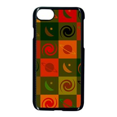 Space Month Saturnus Planet Star Hole Black White Multicolour Orange Apple Iphone 7 Seamless Case (black) by AnjaniArt