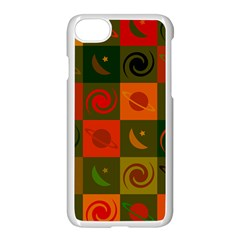 Space Month Saturnus Planet Star Hole Black White Multicolour Orange Apple Iphone 7 Seamless Case (white) by AnjaniArt