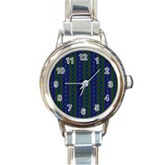 Split Diamond Blue Green Woven Fabric Round Italian Charm Watch by AnjaniArt