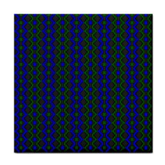Split Diamond Blue Green Woven Fabric Tile Coasters by AnjaniArt