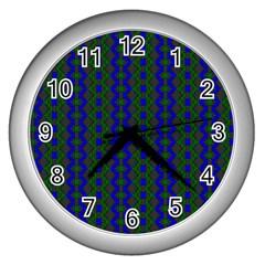 Split Diamond Blue Green Woven Fabric Wall Clocks (silver)  by AnjaniArt