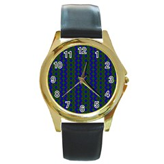 Split Diamond Blue Green Woven Fabric Round Gold Metal Watch by AnjaniArt