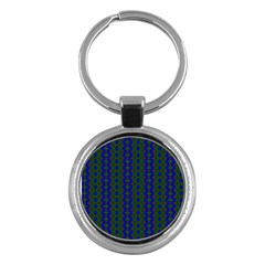 Split Diamond Blue Green Woven Fabric Key Chains (round)  by AnjaniArt