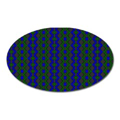 Split Diamond Blue Green Woven Fabric Oval Magnet by AnjaniArt