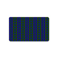 Split Diamond Blue Green Woven Fabric Magnet (name Card) by AnjaniArt