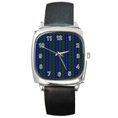Split Diamond Blue Green Woven Fabric Square Metal Watch by AnjaniArt