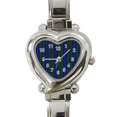 Split Diamond Blue Green Woven Fabric Heart Italian Charm Watch by AnjaniArt