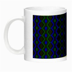 Split Diamond Blue Green Woven Fabric Night Luminous Mugs by AnjaniArt