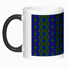 Split Diamond Blue Green Woven Fabric Morph Mugs by AnjaniArt