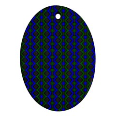 Split Diamond Blue Green Woven Fabric Oval Ornament (two Sides) by AnjaniArt