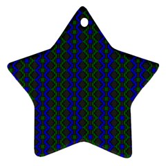 Split Diamond Blue Green Woven Fabric Star Ornament (two Sides) by AnjaniArt