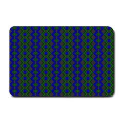 Split Diamond Blue Green Woven Fabric Small Doormat  by AnjaniArt
