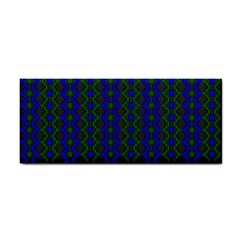 Split Diamond Blue Green Woven Fabric Cosmetic Storage Cases by AnjaniArt