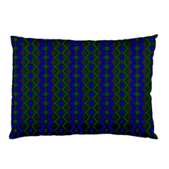Split Diamond Blue Green Woven Fabric Pillow Case by AnjaniArt