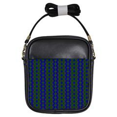Split Diamond Blue Green Woven Fabric Girls Sling Bags by AnjaniArt