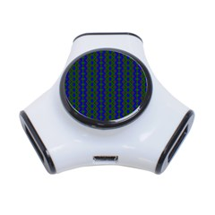 Split Diamond Blue Green Woven Fabric 3 Port Usb Hub by AnjaniArt