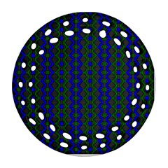 Split Diamond Blue Green Woven Fabric Round Filigree Ornament (two Sides) by AnjaniArt