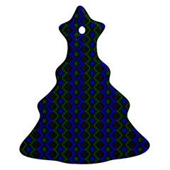 Split Diamond Blue Green Woven Fabric Christmas Tree Ornament (two Sides) by AnjaniArt