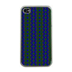 Split Diamond Blue Green Woven Fabric Apple Iphone 4 Case (clear) by AnjaniArt