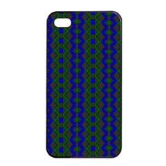 Split Diamond Blue Green Woven Fabric Apple Iphone 4/4s Seamless Case (black) by AnjaniArt