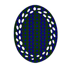 Split Diamond Blue Green Woven Fabric Oval Filigree Ornament (two Sides) by AnjaniArt