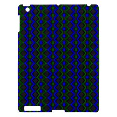 Split Diamond Blue Green Woven Fabric Apple Ipad 3/4 Hardshell Case by AnjaniArt