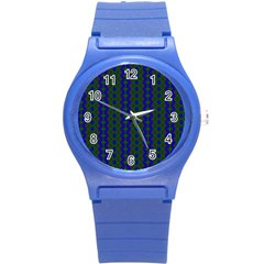 Split Diamond Blue Green Woven Fabric Round Plastic Sport Watch (s) by AnjaniArt