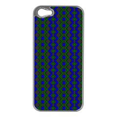 Split Diamond Blue Green Woven Fabric Apple Iphone 5 Case (silver) by AnjaniArt