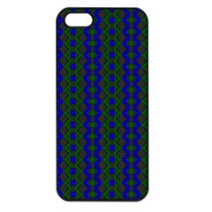 Split Diamond Blue Green Woven Fabric Apple Iphone 5 Seamless Case (black) by AnjaniArt