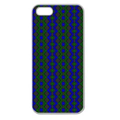Split Diamond Blue Green Woven Fabric Apple Seamless Iphone 5 Case (clear) by AnjaniArt