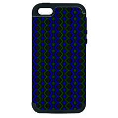 Split Diamond Blue Green Woven Fabric Apple Iphone 5 Hardshell Case (pc+silicone) by AnjaniArt