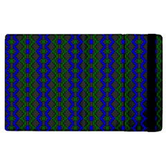 Split Diamond Blue Green Woven Fabric Apple Ipad 3/4 Flip Case by AnjaniArt