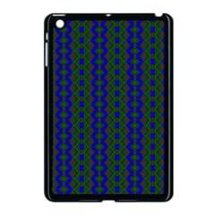 Split Diamond Blue Green Woven Fabric Apple Ipad Mini Case (black) by AnjaniArt