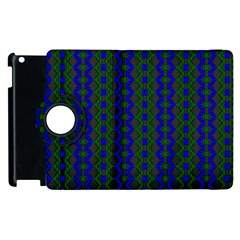 Split Diamond Blue Green Woven Fabric Apple Ipad 3/4 Flip 360 Case by AnjaniArt