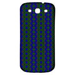 Split Diamond Blue Green Woven Fabric Samsung Galaxy S3 S Iii Classic Hardshell Back Case by AnjaniArt