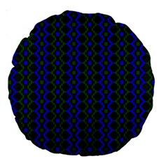 Split Diamond Blue Green Woven Fabric Large 18  Premium Round Cushions by AnjaniArt