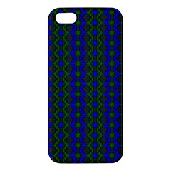 Split Diamond Blue Green Woven Fabric Apple Iphone 5 Premium Hardshell Case by AnjaniArt
