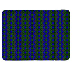 Split Diamond Blue Green Woven Fabric Samsung Galaxy Tab 7  P1000 Flip Case by AnjaniArt