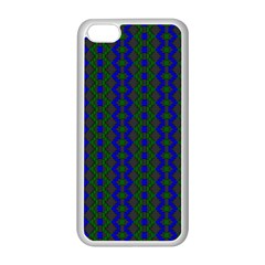 Split Diamond Blue Green Woven Fabric Apple Iphone 5c Seamless Case (white) by AnjaniArt