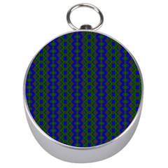 Split Diamond Blue Green Woven Fabric Silver Compasses by AnjaniArt