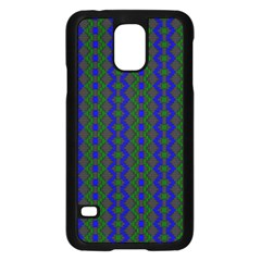 Split Diamond Blue Green Woven Fabric Samsung Galaxy S5 Case (black) by AnjaniArt