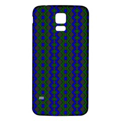 Split Diamond Blue Green Woven Fabric Samsung Galaxy S5 Back Case (white) by AnjaniArt