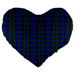 Split Diamond Blue Green Woven Fabric Large 19  Premium Flano Heart Shape Cushions by AnjaniArt