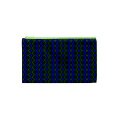 Split Diamond Blue Green Woven Fabric Cosmetic Bag (xs) by AnjaniArt